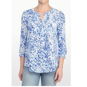 NYDJ Blue Henley 3/4 Length Sleeve Blouse